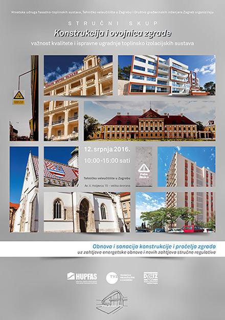 "Plakat - Poziv na stručni skup ""Konstrukcija i ovojnica zgrade"""